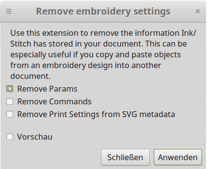 Remove embroidery settings - GUI